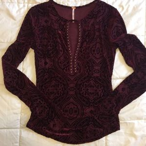 Free People mesh and velvet top